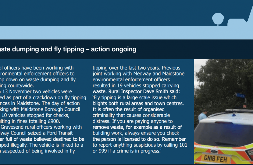 Fly tipping report by Kent Rural Police